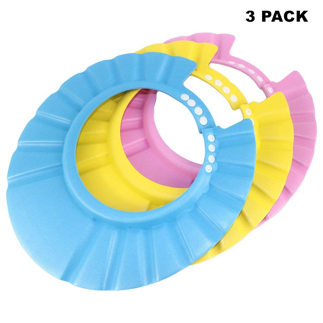 Baby Shampoo Shower Bathing Protection Bath Soft Cap Soft Adjustable Visor Hat for Toddler, Baby, Kids, Children -Pack of 3 FYL