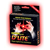 D'lite Junior Red Lightup Magic - Thumbs - Set of 2 Original Amazing Ultra Bright Light - Closeup & Stage Magic Tricks - Easy Illusion Anyone Can Do It - Free Training Video See Box (Junior, Red)