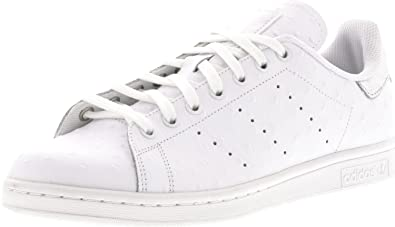 adidas Stan Smith Men's Casual Sneakers Ostrich Leather, White/Silver Metallic, ...