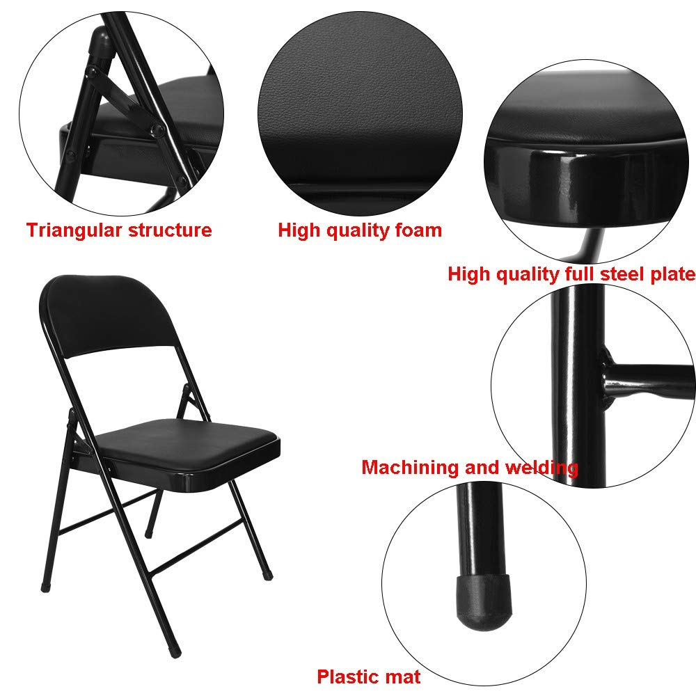 Multifunctional Chair with Backrest,Lefthigh Super Load-Bearing Backrest Folding Chair Steel Plate Base Leisure Office Stool by Lefthigh (Image #4)