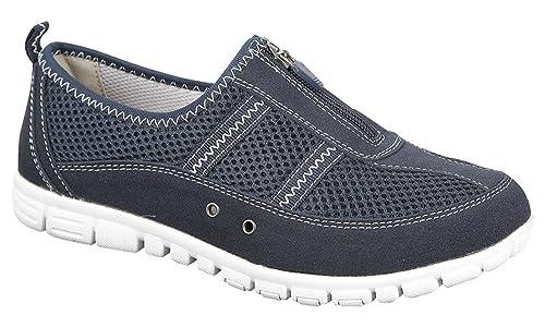 Mujer Muy Ancho EEE Informal Forro De Piel Zapatillas Talla 4-9 azul marino: Amazon.es: Zapatos y complementos