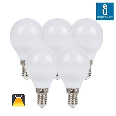 Aigostar - Pack de 5 Bombilla LED G45 big angle, de 7 W, casquillo