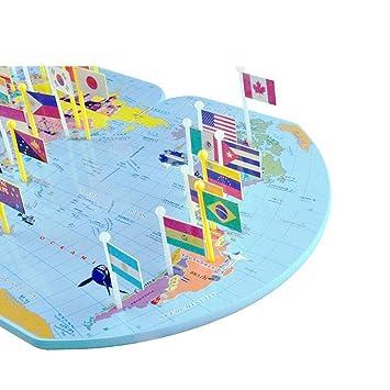 Carte Du Monde Geographie.Jouet Educatif Enfants Carte Du Monde En Bois 36 Drapeaux