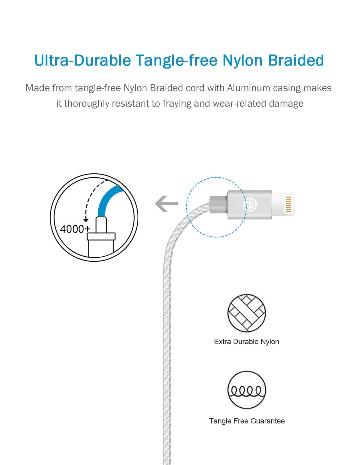 Apple MFi Certified- OPSO Nylon Braided USB Charging Cable/Cord with Lightning Connector for iPhone 7 6s 6 Plus 5s 5,iPad Pro mini iPod 1M / 3.3 ft - Silver