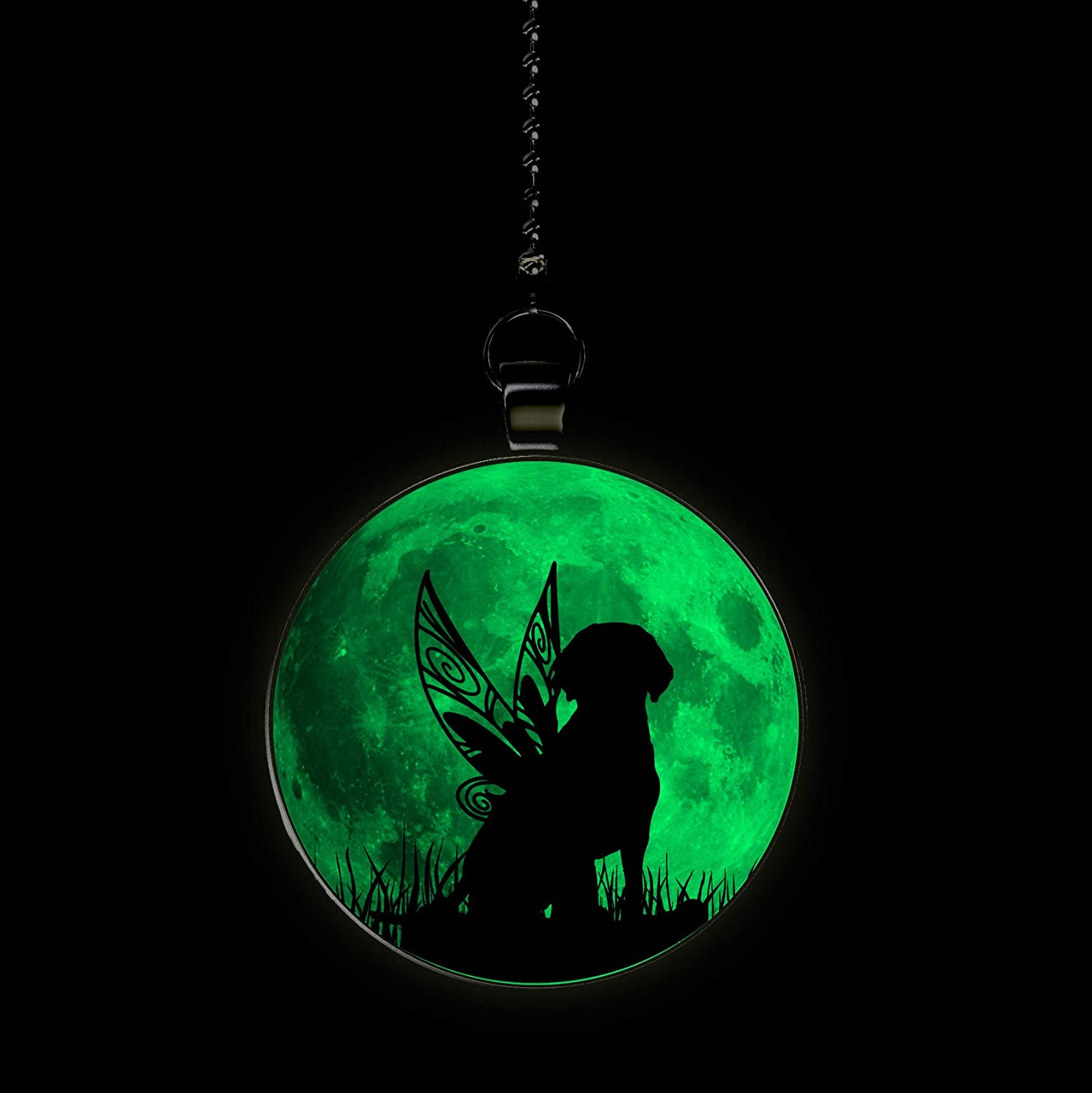Dog Fairy Glow in the Dark Fan//Light Pull Pendant with Chain
