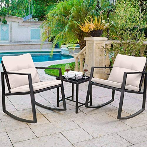 Greesum GS-3RRCSBG 3 Pieces Patio Furniture Set, Glass Coffee Table, Beige    Greesum 3 Pieces Rocking Patio Furniture Sets