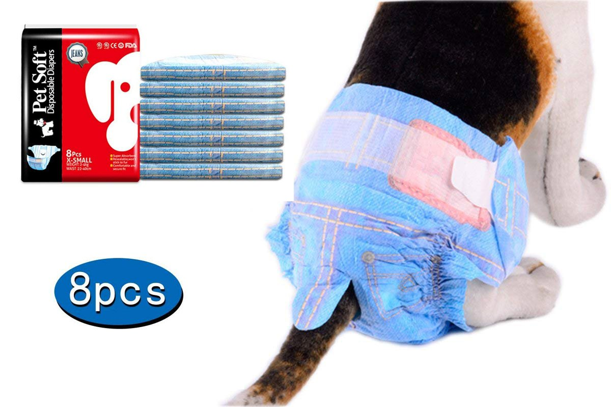 Pet Soft Fashion Cotton Denim Jeans Pet Disposable Diaper Cowboy Style Puppy Dog Diaper,8Pcs,S