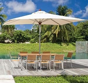 Ingarden Teak Garden Table(Polyteak) & 8 Stainless Steel & Polyteak Garden Chairs
