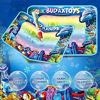 [LATEST 2020] Educational Toys Gifts for Toddler Boys Girl Age 2 3 Year Old, Aqua Magic Doodle Mat 40 X 28 Inches Extra Large, Art Activities Water Drawing Doodling Coloring Mats - USA Patented Design: Toys & Games