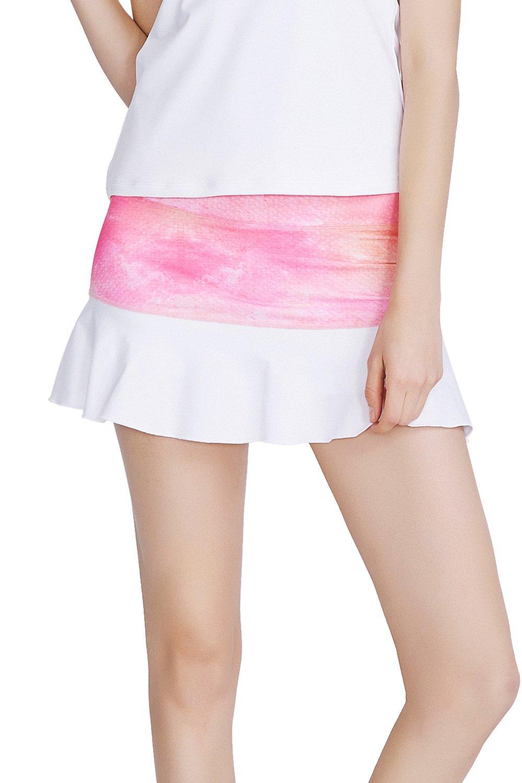 32e-SANERYI Women's Pleated Elastic Quick-Drying Tennis Skirt with Shorts Running Skort (M, Pink) by 32e-SANERYI