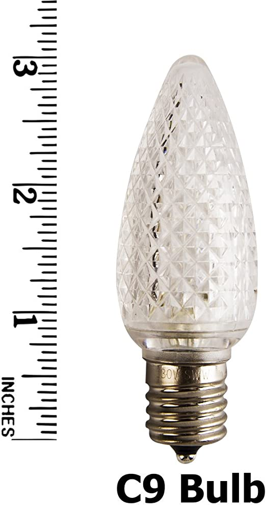 Pack of 25 LED C9 Warm White Replacement Christmas Light Bulbs for Light Strand,