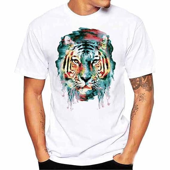 Hombres Verano Casual Tigre Abstracto Imprimir O Cuello ...