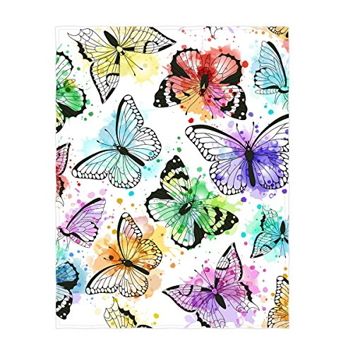 Butterfly Throw - QH 58 x 80 Inch Beautiful Butterfly Pattern Super Soft Throw Blanket for Bed Couch Sofa Lightweight Travelling Camping Throw Size for Kids Adults All Season