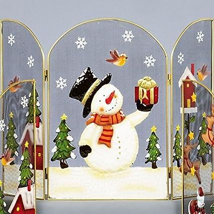 Christmas Fireplace Screen.Amazon Com 49cm Snowman Fireguard Metal 3 Panel Xmas