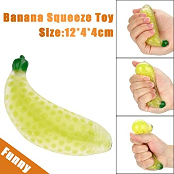 Anti Stress Novelty Funny Ball Toys Yellow Squishy Banana Ball Stress Pressure Cute Bag Parts Accessories Attractive Fashion Luggage & Bags