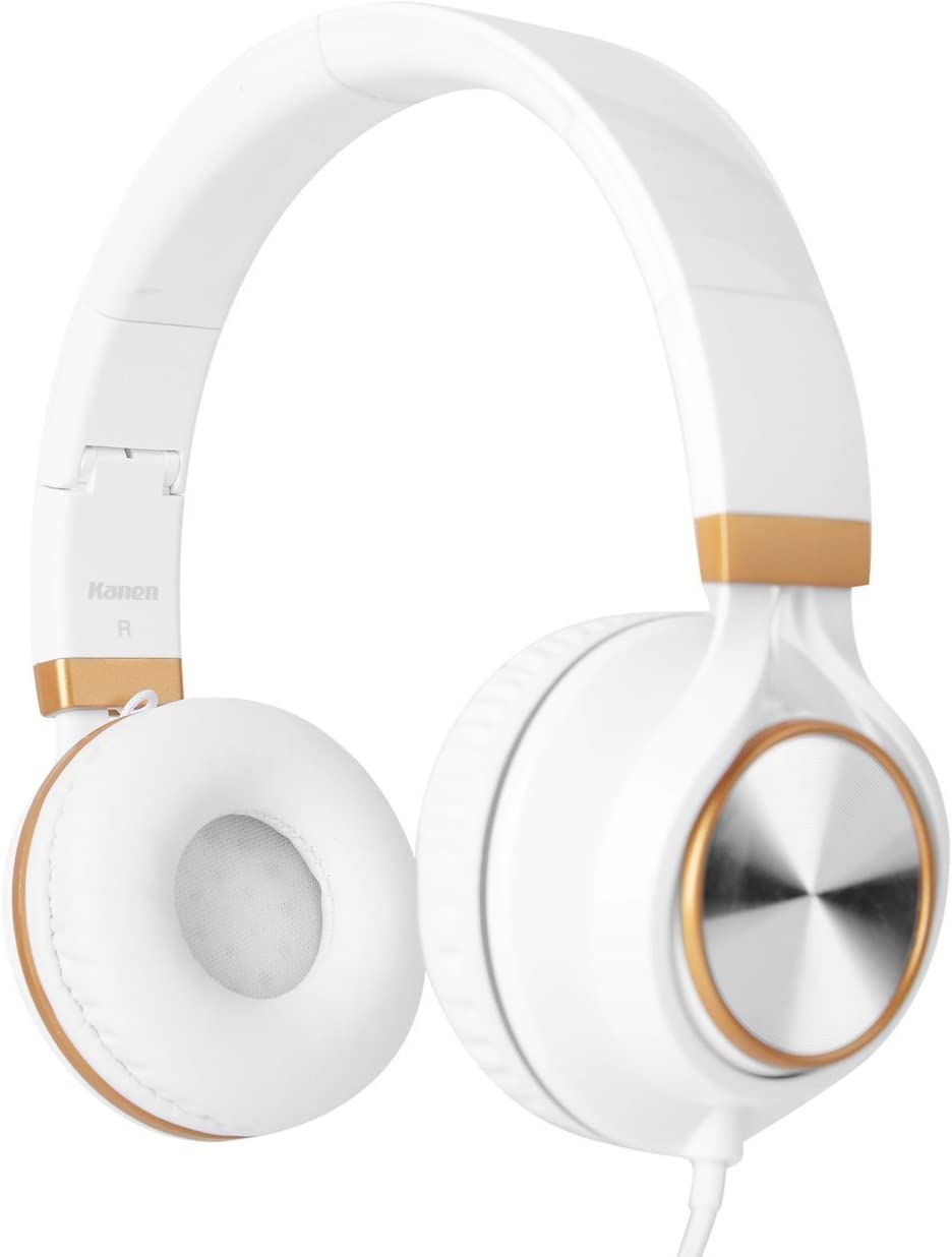 Over-Ear Headphones, Foneda IP-2050 Stereo Lightweight Folding Portable Wired Headsets Includes Mi and Phone Controller Earphones,Stretchable Headband,Great Heavy Bass with Soft Earpads White Gold