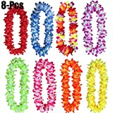 Aniwon 8PCS Hawaiian Leis Fashionable Tropical Colorful Party Leis Luau Leis Hawaiian Party Favor
