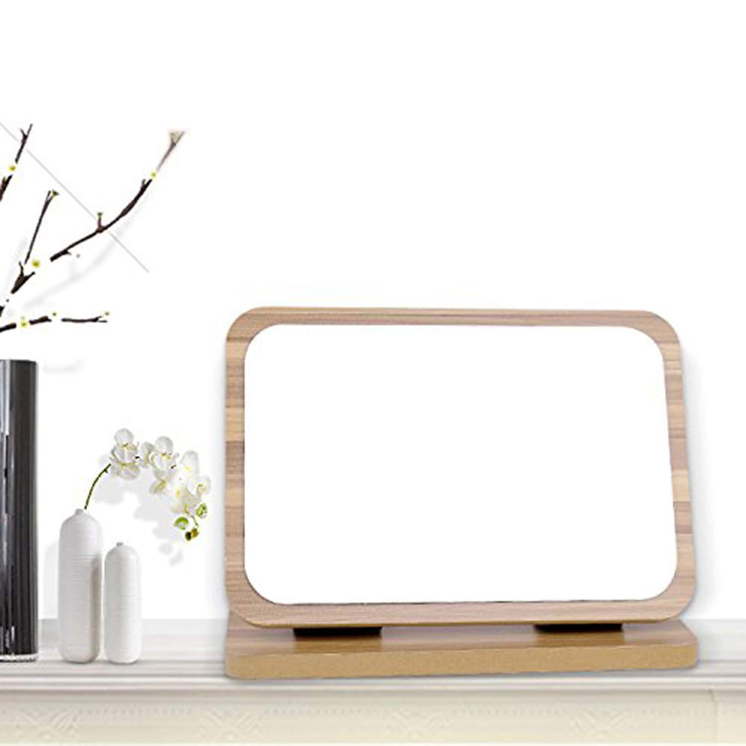 GOHIDE High Definition Cosmetic Mirror Wooden HD Makeup Mirror Simple Beauty Mirror Dressing Folding Simple Portable Large Desktop by GOHIDE (Image #6)