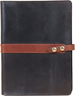 product image for Black with Brown Trim Leather Tablet Portfolio Case No. 18 - USA Made, Fits iPad | Col. Littleton