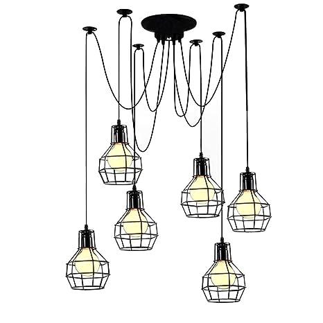 OYI metal jaula Luces colgantes Bricolaje decoración 5-Light E27 ...