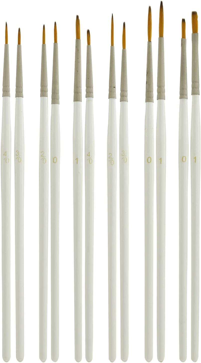 US Art Supply Miniature Detail Paint Brush Set - 12 Miniature Brushes for Art Painting - Acrylic, Watercolor, Oil