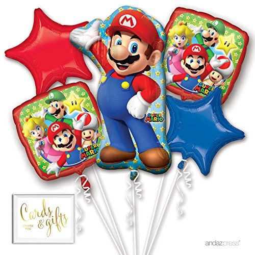 Andaz Press Balloon Bouquet Party Kit with Gold Cards & Gifts Sign, Mario Brothers Birthday Foil Mylar Balloon Decorations, 1-Set -