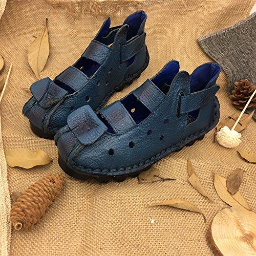 Piel Genuina El Cosido a Mano Suave Suela Zuecos Zapato Ultraligero Cómodo Sandalias Ajustable Ocio Verano Zapatillas Mujer Azul