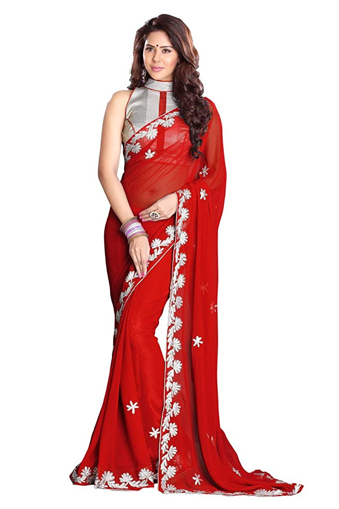 Mirchi Fashion Faux Georgette Zari Work Indian Traditional Wear Saree for Women Sourabh Sarees 7157A