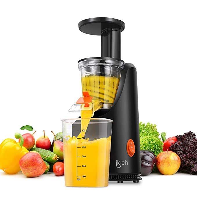 Slow Juicer, IKICH Juice Extractor with Maximum Nutritional Value, Fresher Nutrient and Vitamins, Simple to Use, Easy to Clean, Cold Press Juicer for All Fruits and Vegetable, 200W Motor, 64 RPM