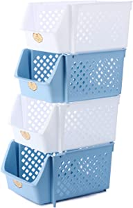 Titan Mall Stackable Storage Baskets for Food, Snacks, Bottles, Toys, Toiletries, Plastic Storage Baskets Set of 4, 15x10x7 Inch/bin, Whit & Blue Color, Stackable Storage Bins for Space Saving