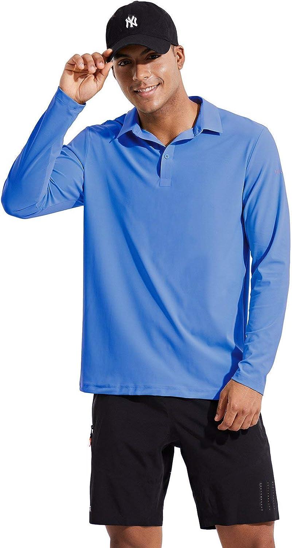 BALEAF EVO Men's UPF 50+ Sun Protection Golf Polo Shirt Quick Dry Long Sleeve Workout Tennis Shirt : Clothing