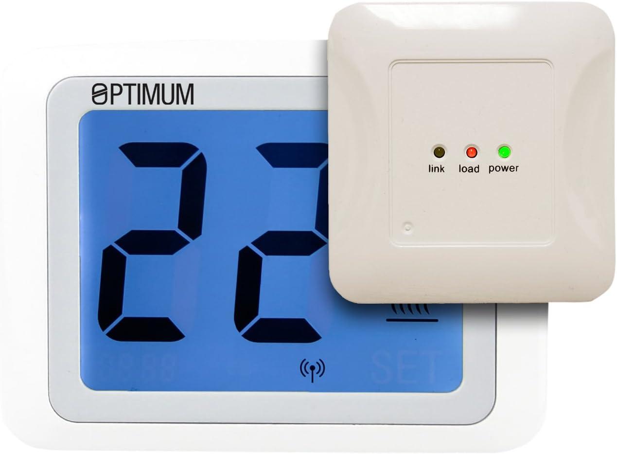 Optimum OP-TOUCHRF - Termostato de radio con pantalla táctil (230 V), color blanco