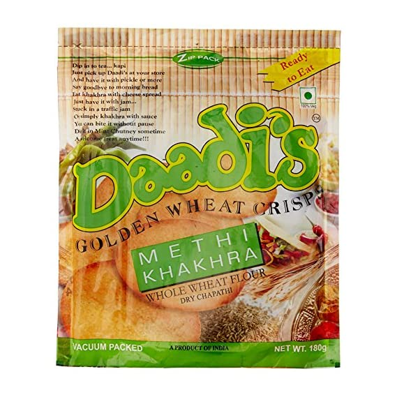 Daadi's Golden Wheat Crisps Methi Khakhra, 180g (Pack of 3)