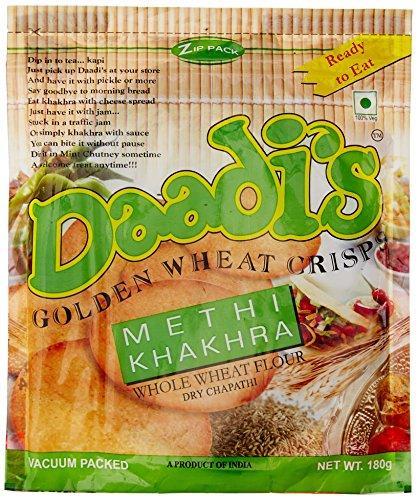Daadi's Golden Wheat Crisps Methi Khakhra, 180g (Pack of 3)