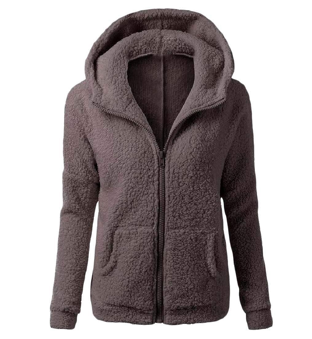 YUNY Women Hooded Autumn Winter Sweatshirts Worsted Solid Color Coat Coffee 2XL