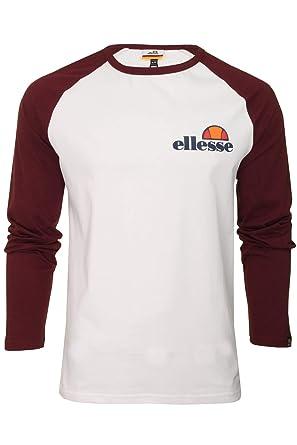 3fd1834d ellesse Thero Long Sleeve Optic White/Zinfandel Cotton T-Shirt XXL ...