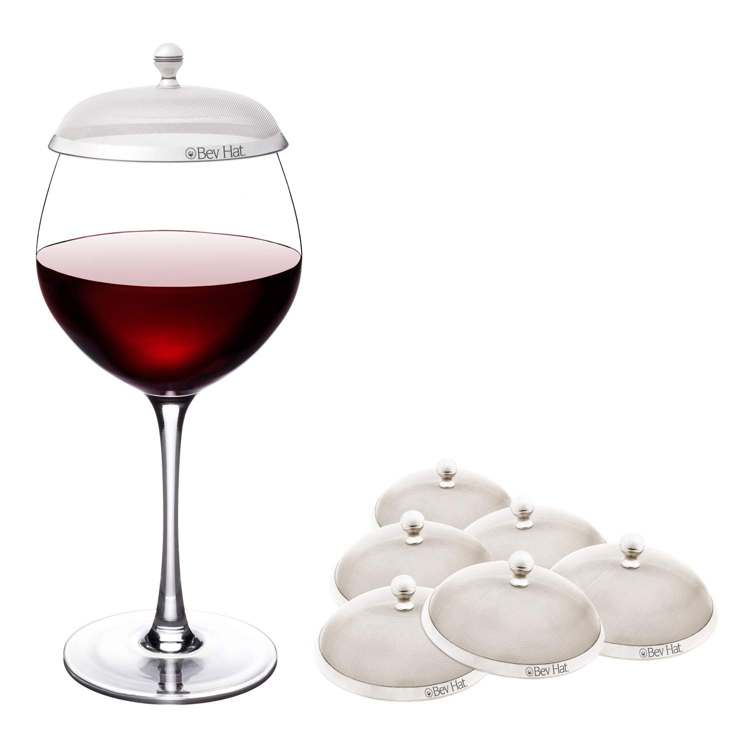 BevHat Wine Glass Cover. Family Pack Plus (Three 2-Packs / 6 BevHats Total). Keep The Bugs Out!