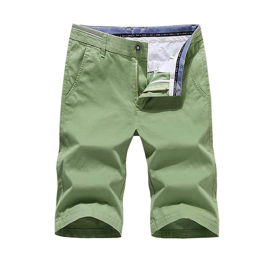 NUWFOR Mens Fashion Casual Shorts Jeans Beach Work Casual Short Trouser (Green,US M Waist:33.9'')