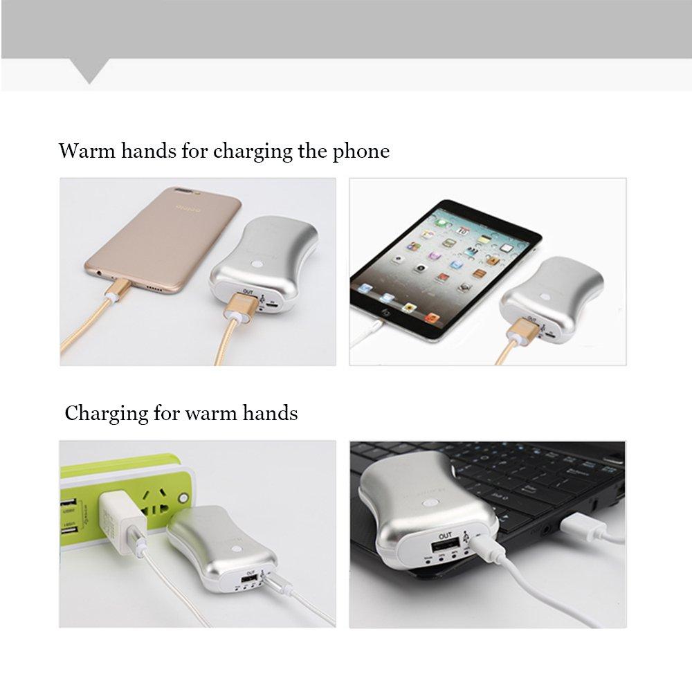 HandFan Rechargeable Hand Warmer Ergonomic Metal USB Electric Hand Warmer Pocket Portable Hand Warmer Small Hand Warmers for Women//Men//Kids+5200mAh 2.1A Power Bank+LED Flashlight