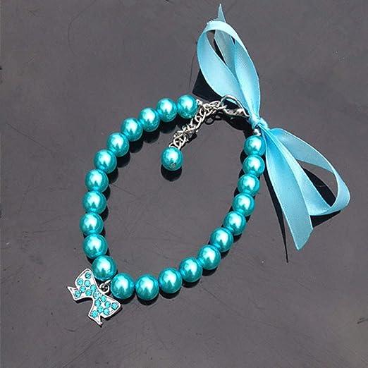 LICHENYANG Collar de Perlas de Perro y Gato, Accesorios ostentosos ...
