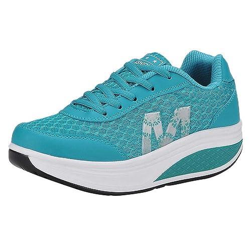 Logobeing Zapatillas Deportivas de Mujer, Adelgazar Zapatos Sneakers para Caminar Zapatillas Aptitud Cuña Plataforma Zapatos