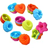 To encounter 24Pcs Silicone Molds Silicone Cupcake Baking Cups Silicone Donut Baking Pan Set Nonstick 2 3/4 inches Silicone Donut Mold BPA Free Muffin Jello Bagel Pan Oven- Microwave- Dishwasher Safe