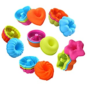 To encounter 24Pcs Silicone Molds Muffin Cupcake Liners Reusable Baking Cups Nonstick Donut Pans-Heart, Stars, Flower, Round, Pumpkin, Spiral Shapes Oven-Microwave-Dishwasher Safe