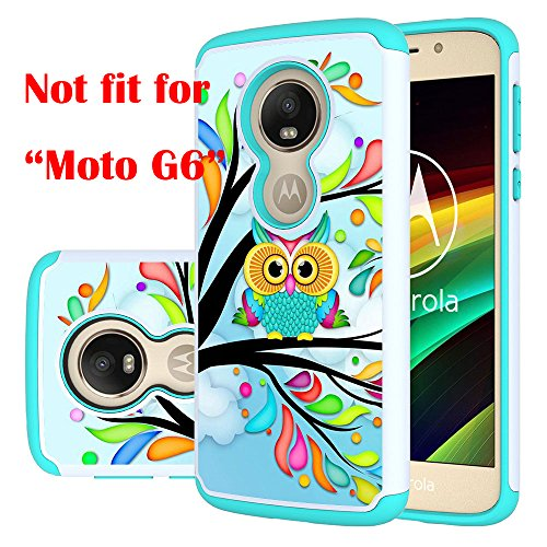 Moto G6 Play Case, Moto G6 Forge Case, MAIKEZI Hybrid Dual Layer TPU Plastic Armor Defender Phone Case Cover for Motorola Moto G6 Play (Armor Green Owl)