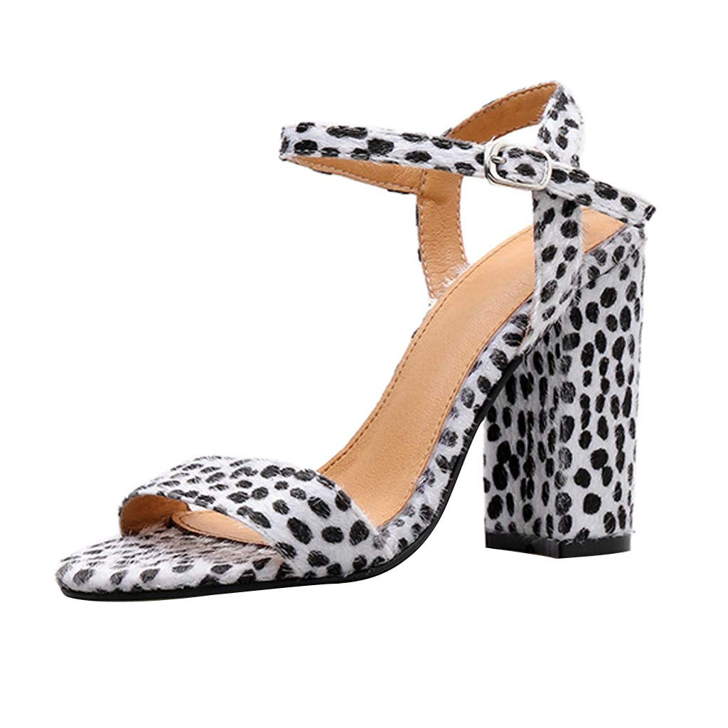 Lurryly Womens Open Toe Ankle Strap Chunky High Heel Dress Party Pump Sandals Buckle Sandals