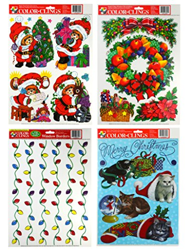 PAPER MAGIC Static Cling Window Christmas Decorations (Cats, Wreath, Bears, & Lights)