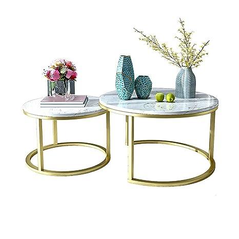 Table XIAOYAN Mesita nórdica de mármol Mesita de Oro Simple ...