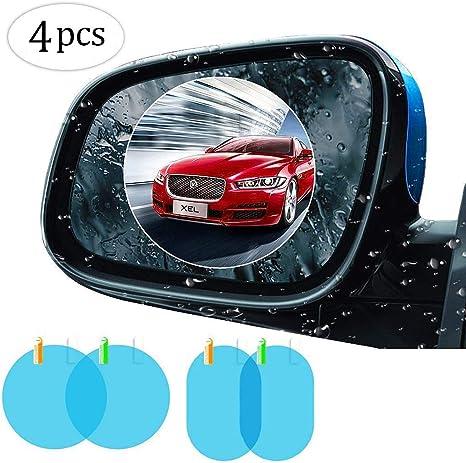 2Pcs Car Blue Oval Anti-Fog Rainproof Rearview Mirror Protective Film 10*14.5cm