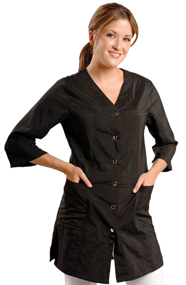 JMT Beauty 3/4 Sleeve Black Salon Smock (M (8)) B909