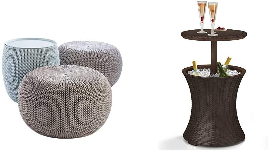 Keter Urban Knit Pouf Ottoman Set of 2 with Storage Table for Patio and Room Décor & Pacific Cool Bar Outdoor Patio Furniture and Hot Tub Side Table with 7.5 Gallon Beer and Wine Cooler